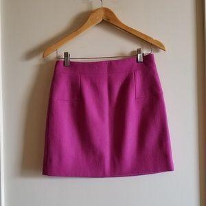 J Crew Bright Pink Wool Mini Skirt
